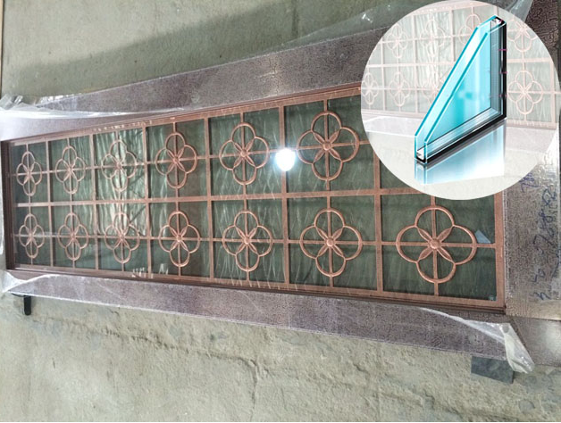 钢化玻璃不锈钢仿铜门