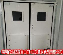 【山东】高密望乡食品厂钢制防撞自由门安装案例