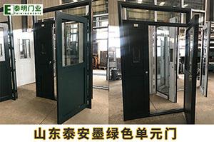 山东泰安墨绿色单元门工程案例