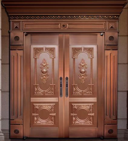 别墅铜门 整板压花铜门