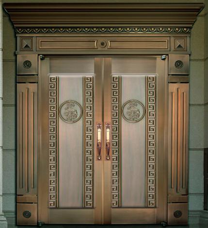 整板压花铜门 双开铜门样式