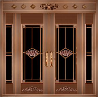 玻璃铜门 四开铜门款式