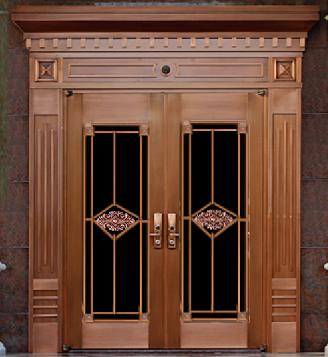 别墅玻璃铜门 TM-7008